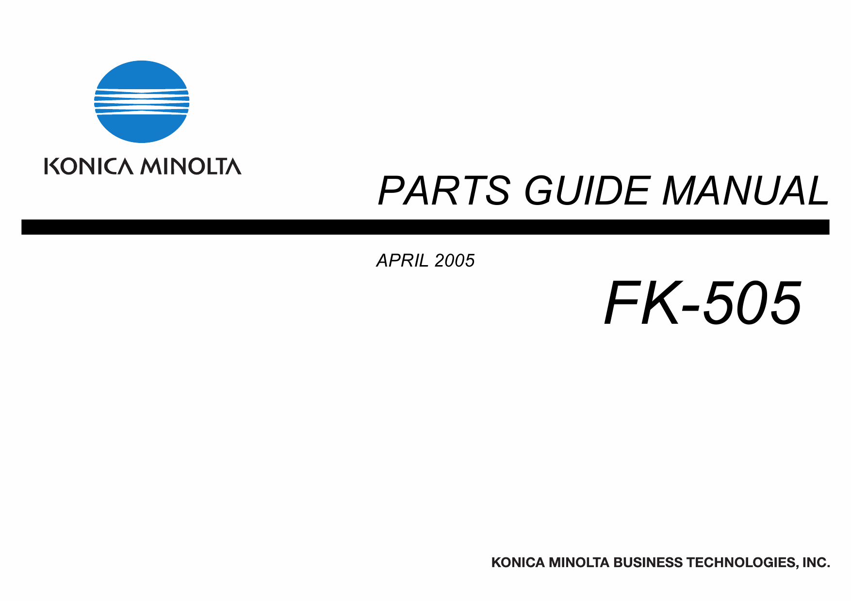 Konica-Minolta Options FK-505 Parts Manual-1